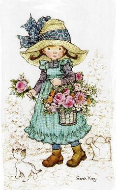 Soloillustratori: Holly Hobbie- Sarah Key e Sambonnet Sarah Key, Holly Hobbie, Mary May, Australian Artists, Cute Little Girls, Cute Illustration, Vintage Pictures, Vintage Cards, Vintage Children