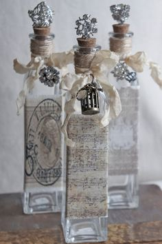 Decorative bottle with vintage french accents repurposed bottle..via Etsy.