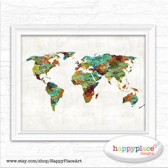 Large Rust Copper Khaki Aqua and Blues World Map by HappyPlaceArt