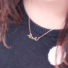 Love Necklace Golden. Love word Charm Necklace. by fallinstyle