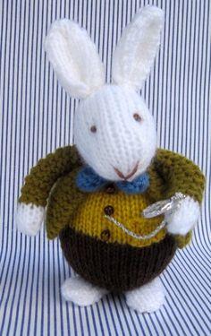 Knitting Pattern for White Rabbit Toy