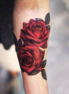 hyper-realistic rose tattoo © tattoo artist Joyce Wang Grit N Glory 🌹❤🌹. - hyper-realistic rose tattoo © tattoo artist Joyce Wang Grit N Glory 🌹❤🌹… – – - Rose Tattoo Forearm, Cool Forearm Tattoos, Body Art Tattoos, Sleeve Tattoos, Tattoo Hip, Rose Tattoo Man, Rose Tattoo For Guys, Tattoo For Man, Rose Tattoo On Back