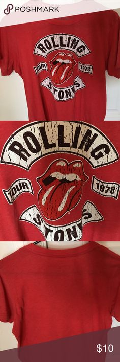 Rolling Stones Tee (XL 14-16) Supersoft red Rolling Stones T-shirt. Looks and feels like a vintage tee. Youth extra-large 14 to 16 fits adult small or medium. Excellent used condition Tops Tees - Short Sleeve
