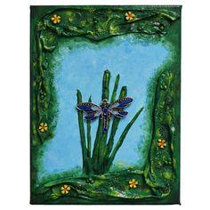 Blue dragonfly (Kék szitakötő) - 18 x 24 cm, 2018 #paverpol #textile #textil #acrylic #akril #vivienholl #dragonfly #szitakötő #virágok #flowers Techno, Halloween, Artwork, Painting, Work Of Art, Auguste Rodin Artwork, Painting Art, Artworks, Paintings