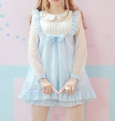 """gasaii: """" Pastel blue babydoll dress with bloomers. Price $48.00 $20.00 """""""
