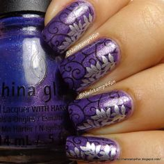 Nail Stamp 4 Fun: Double Stamping: Using Cici&Sisi plate 2 and Winstonia Diy Nails, Cute Nails, Pretty Nails, Nail Nail, Nail Polish Designs, Cool Nail Designs, Gel Polish, Purple Nail Art, Born Pretty
