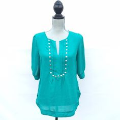 Studded top Dark mint green top with stud detailing down front. Super adorable shirt ! Purchased at a boutique and worn once. Spoiled Tops