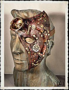 Demi masque de Steampunk en cuir marron - Dr Hal-