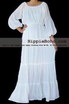 White Gauze Dress Plus Size |  Size XS,S,M,L,1X,2X,3X,4X,and 5X Hippie Gypsy Boho Style
