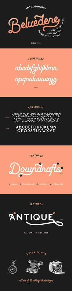 """""""Belvedere"""" is a mono-line font duo which has been inspired by the typography style of two important decades, the never outdated 40's and 50's."""