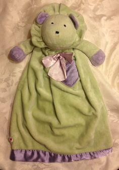 LOVEY Rare Vintage Dakin Green Purple Lion Satin Heart Baby Security Blanket #Dakin