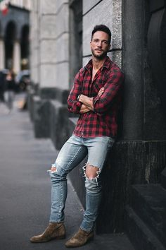 Daniel Fox wearing Saint Laurent Suede Jodhpur Boots, Saint Laurent Original Mid-Waisted Skinny Jean