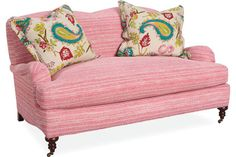 Shop for Lee Industries Loveseat, and other Living Room Loveseats at McElherans Fine Furniture in Edmonton, AB. Shown in Fabric Mimi Pink. Find Furniture, Furniture Upholstery, High Point Furniture, Lee Industries, Pink Sofa, City Living, Living Room, Cozy Place, Room Chairs