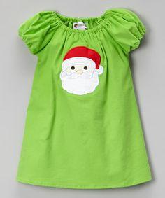 Look what I found on #zulily! Green Santa Appliqué Corduroy Dress - Infant, Toddler & Girls by Smockadot Kids #zulilyfinds