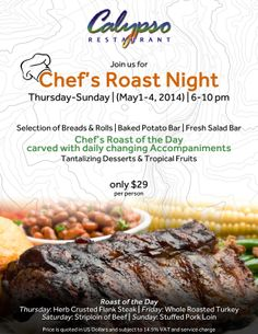New Event!!! Starting today May 1st until Sunday 4th @Kristen Kyslinger Restaurant -Chef's Roast Night!