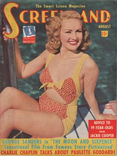 Betty Grable reminds The Boys of what they are fighting for on the cover of the August 1942 Screenland