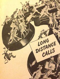 Bell Telephone - Long Distance call - Vintage Original Print Ad - 1945 - WW2 Era