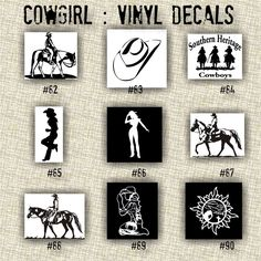 Cowgirl Vinyl Decals Country Western Country Girl Car Decals