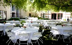 The Alumni Center Patio can be set for a lovely outdoor reception. May 20, 1995 - our wedding day at Alumni Center was awesome! (not our picture ;))
