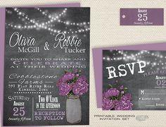 Mason Jar Wedding Invitation, Printable Rustic Chalkboard Wedding Invitation, Country Barn Wedding Invite W/ String Lights, Purple Peony DIY X3designs on Etsy