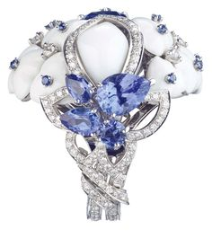 {Chaumet Hortensia ring in platinum set with white opal, diamonds, sapphires, tanzanites and a central 2.63ct cushion-cut tanzanite}{ht}
