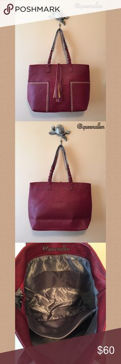"""🍓CalliBag Tote🍓 Imported Smooth Faux Manmade Leather Waterproof Zip Top Closure Color: Wine 17"""" W x 12"""" H x 4.5"""" D  Shoulder Strap Drop 10""""  This tote is Spacious, Practical and Aesthetically Pleasing 😍. Perfect for School or Work. Front Pockets fit an iPhone 6 with case & small items for easy access. Slide in a 15"""" Laptop with a lot of space left over. It's a tad bit too big for my frame so my loss is your gain. CalliBag Bags Totes"""