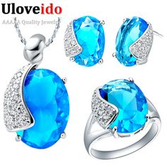 Find More Jewelry Sets Information about Uloveido Wedding Accessories Bride Silver Plated Set Simulated Sapphire/Amethyst Stone Blue Rhinestone Women Jewelry Sets T060,High Quality jewelry silicone,China jewelry store display case Suppliers, Cheap jewelry screwdriver from ULOVE Fashion Jewelry Official Store on Aliexpress.com