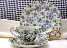 Violets chintz china teacup saucer and dessert plate set by lefton