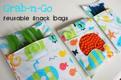 Grab-n-Go Reusable Snack Bags:Tutorial Use clear vinyl for windows and vinyl tablecloth material for liner