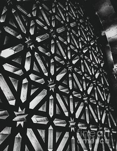 Detail of the wooden latticework from one of the doors of the Mosque of Cordoba, a UNESCO World Heritage monument and an obligatory stop when visiting the city. Some Beautiful Images, Framed Prints, Canvas Prints, Art Sites, Types Of Art, Light And Shadow, Mosque, Wood Print, Black And White Photography