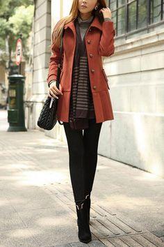 Rust plus grays color scheme. OASAP - Turndown Collar Coat with Pleated Hem - Street Fashion Store