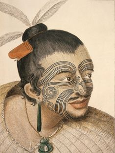 Maori man, known as Rachel and Maygen. 1769 Maori man, known as Rachel and Maygen. 1769 by Sydney Parkinson artist on Captain Cook's voyage to New Zealand in 1769 (Photo by: Universal History Archive/Universal Images Group via Getty Images) James Cook, Homemade Tattoo Ink, Tattoo Studio, Ta Moko Tattoo, Maori People, Zealand Tattoo, History Tattoos, Facial Tattoos, Maya