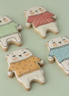 Bear Cookies, Spice Cookies, Cookies For Kids, Cut Out Cookies, Fun Cookies, Gingerbread Cookies, Christmas Cookies, Paint Cookies, Cookie Crumbs