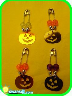 Halloween Jack-o-lantern Coil-less Charm Pin Scout SWAP Girl Craft Kit from Swaps4Less