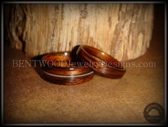 Bentwood Rosewood Wooden Ring Set with Guitar String Inlay