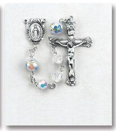 """6mm Swarovski Crystal Beads with 7mm Porcelain Painted Flower Our Father Beads with Sterling Miraculous Center and 1-13/16"""" Sterling Silver Crucifix with Rhodiu"""