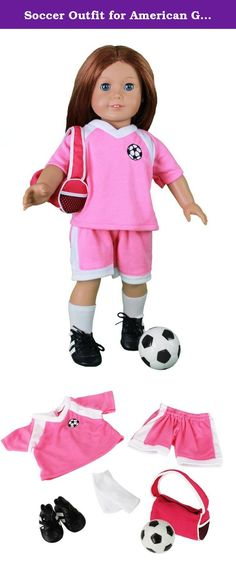 "Soccer Outfit for American Girl and 18"" Dolls - 6 pc Clothes Set w Shorts, Shirt, Socks, Cleats, Sports Bag, and Ball. Doll Clothes for American Girl Dolls: 6 Piece Soccer Star Outfit - ""Dress Along Dolly"" (Includes Shirts, Shirt, Socks, Cleats, Sports Duffle Bag, and Soccer Ball): From the makers of the best selling Ride Along Dolly Bike Seat comes a line of doll clothes that will make your favorite American Girl or comparably sized dolls' heart melt. Dress Along Dolly Clothes are all…"