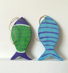 set of hanging fish nautical fish signs beach house decor