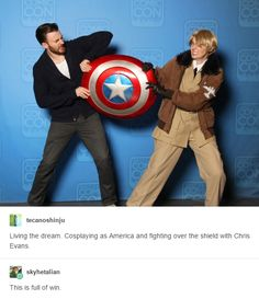 """America: """"Please, Captain! Just. Let. Me. Be. The. HERO!!!"""" Captain: """"You're not ready for that kind of responsibility!!!"""""""