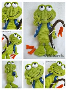 Crochet Frog, Cute Crochet, Crochet For Kids, Crochet Crafts, Crochet Projects, Crochet Mittens Free Pattern, Crochet Patterns Amigurumi, Amigurumi Doll, Crochet Dolls