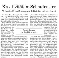 Kreativität im Schaufenster: Verkaufsoffener Sonntag am 4. Oktober mit viel Kunst  I Contemporary #Art Baden-Baden