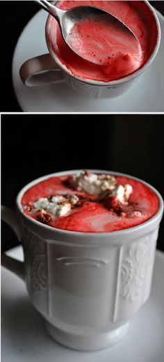 Red Velvet Hot Cocoa with Cream Cheese Whipped Cream | All Kinds of Yumm