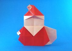 Origami Santa Claus - stout with sack by Ryo Aoki folded by Gilad Aharoni Origami Paper, Diy Paper, Origami Santa Claus, Origami Christmas, Book Show, Geometric Shapes, Crafty, Gallery, Holiday