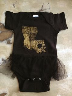 Fleurty Girl - Everything New Orleans - Louisiana Love Onesie, Black and Gold Edition, $24.
