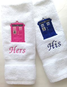 Dr Who  towels, for kitchen bathroom, geek, you pick size, custom embroidery, Dr Who, Tarids, his and hers towels,  hand towels, geek gift, on Etsy, $36.00