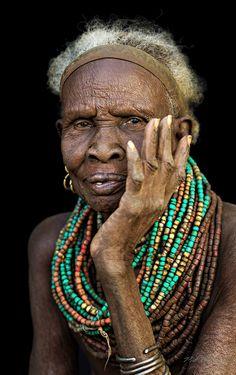Africa | Elderly Nyangatom woman.  Omo Valley, Ethiopia | ©Pit Buehler