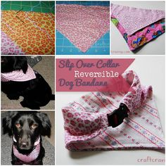 DIY Slip Over Collar Reversible Dog Bandana