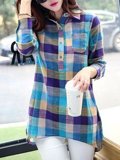 Casual Shirt Collar Long Sleeve Plaid Linen Blouse For Women Kurta Designs, Blouse Designs, Dress Designs, Trendy Tops For Women, Blouses For Women, Blouse Online, Shirts Online, Blouse Styles, Printed Blouse
