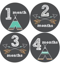 Tribal Baby Month Stickers