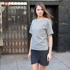 Emerson Fry Tops - Drop Sleeve Shirt - ocean grey stripe